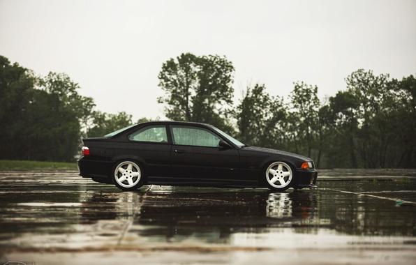 Picture rain, BMW, coupe, BMW, black, black, E36
