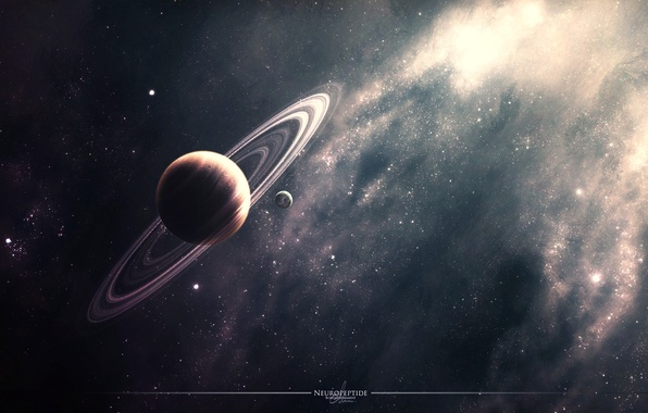 Picture space, stars, nebula, planet, ring