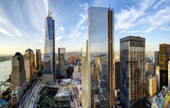 Picture the sky, clouds, the city, building, home, New York, skyscrapers, panorama, USA, USA, Manhattan, New ...
