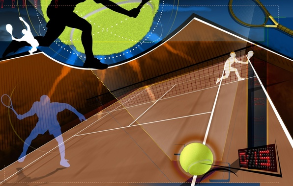 Picture abstraction, mesh, collage, Wallpaper, the ball, vector, silhouette, racket, tennis, Tennis