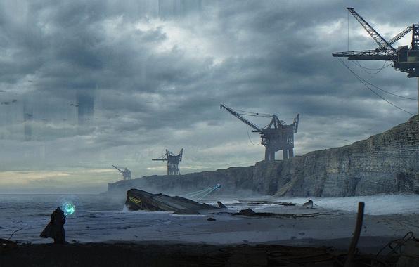 Picture sand, sea, water, clouds, fiction, shore, people, planet, crane, others, alien, fan art, wayland-eaters