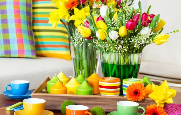 Picture flowers, table, pillow, candles, colorful, Cup, tulips, colorful, serving, swipe, arrangement