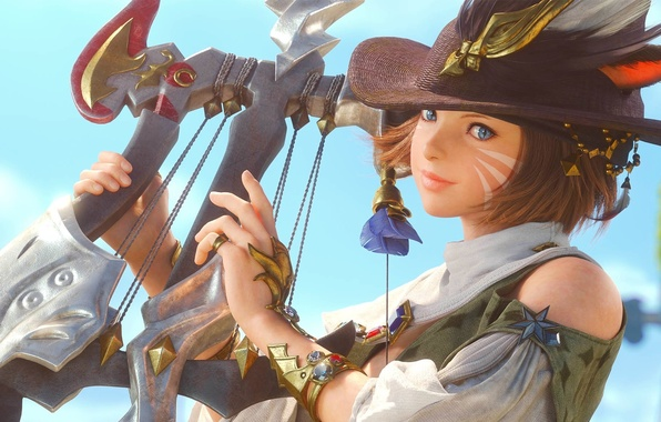 Picture girl, hat, feathers, harp, ears, Final Fantasy, coloring, bard, cat's eye, A Realm Reborn, XIV