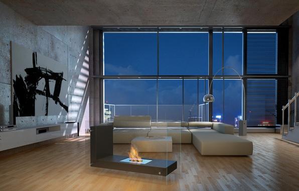 Picture design, style, room, interior, living room, Loft, loft, Bio Fireplace in Living Room, L-Shape