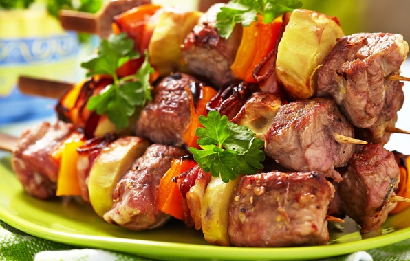 Picture meat, vegetables, kebab, skewers, meat, vegetables