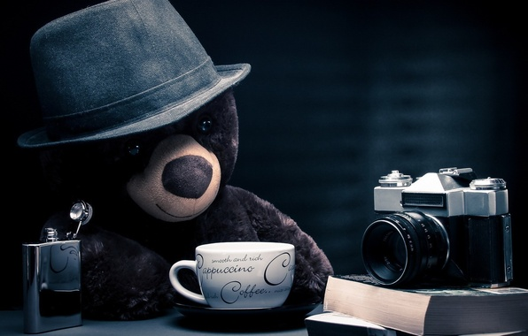 Picture fantasy, bear, hat, photographer, camera, blue background, coffee, teddy bear, cappuccino, table, books, location, thoughtful, …