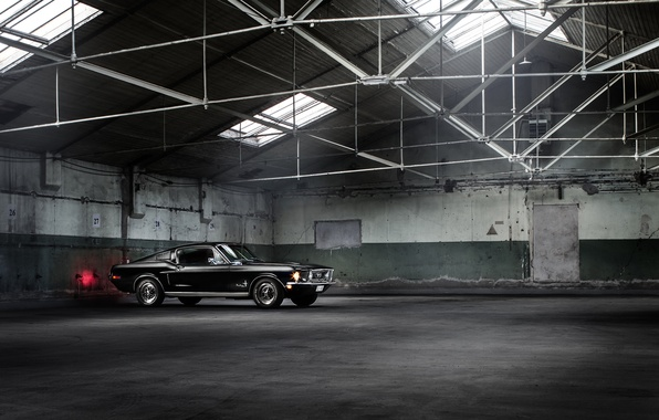 Picture Mustang, Ford, Muscle, Car, Classic, Black, Fastback, Warehouse