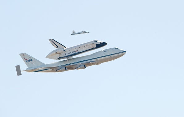 Picture The sky, The plane, Flight, Boeing, NASA, Boeing, 747, NASA, Shuttle, Endeavour, Endeavour