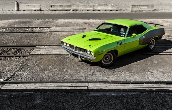 Photo wallpaper Barracuda, Plymouth, Green, 1971