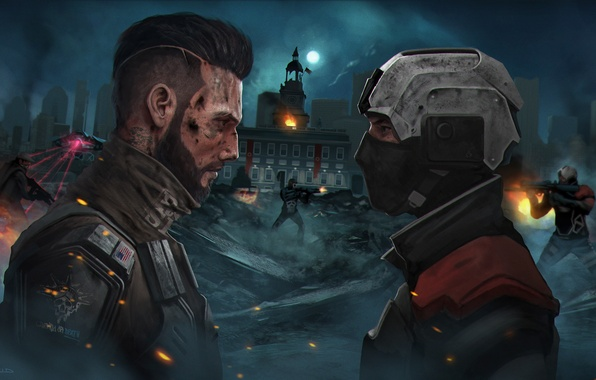 Picture the opposition, mask, art, soldiers, helmet, Homefront: The Revolution
