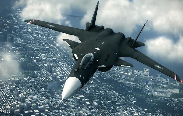 Picture Clouds, The city, Flight, Dry, Su-47, Eagle, Su-47