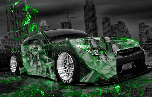 Picture Night, The city, Neon, Green, Tuning, Style, Nissan, Wallpaper, GTR, City, Nissan, Anime, Photoshop, Photoshop, ...