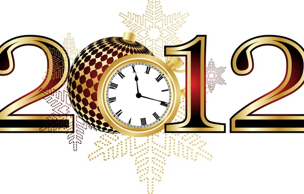 Picture watch, new year, figures, 2012
