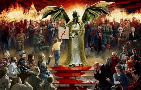 Picture Cthulhu, the Declaration of dependence, slaves