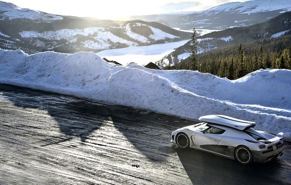 Picture road, white, snow, mountains, Koenigsegg, Top Gear, supercar, the best TV show, top gear, top …