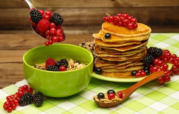 Picture berries, Breakfast, honey, pancakes, fresh, currants, BlackBerry, berries, breakfast, muesli, pancake