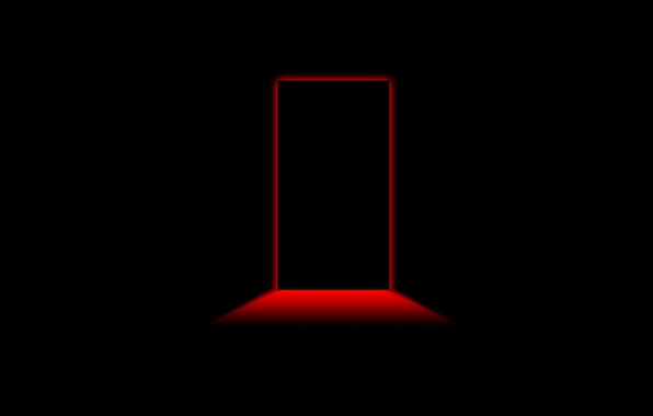 Picture Minimalism, Red, Black Style, Black Background, Minimalism, The Door To The Red Room