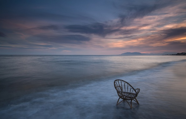 Picture sea, the sky, clouds, sunset, shore, coast, the evening, chair, calm, Spain