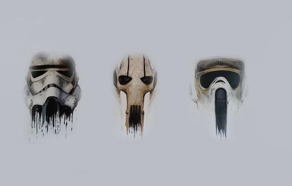 Picture Star wars, Stormtrooper, General Grievous, Biker Scout Helmet