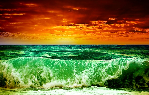 Picture sea, wave, the sky, clouds, sunset, storm, rendering, treatment