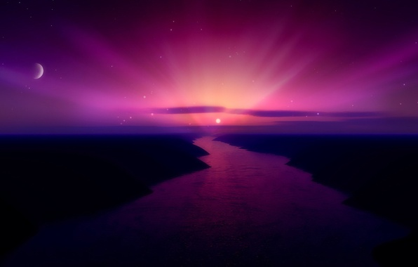 Picture the sun, sunset, river, the moon, color, 156