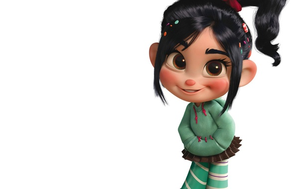 Picture mood, positive, girl, white background, Cartoon, Ralph, Wreck-it Relph