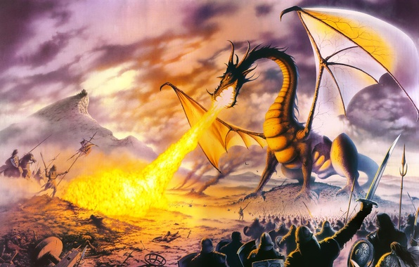 Picture fantasy, fire, dragon, STEVE READ, Dragon Lord, warriors