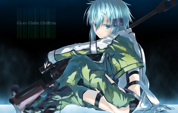 Picture girl, weapons, anime, art, sword art online, sao