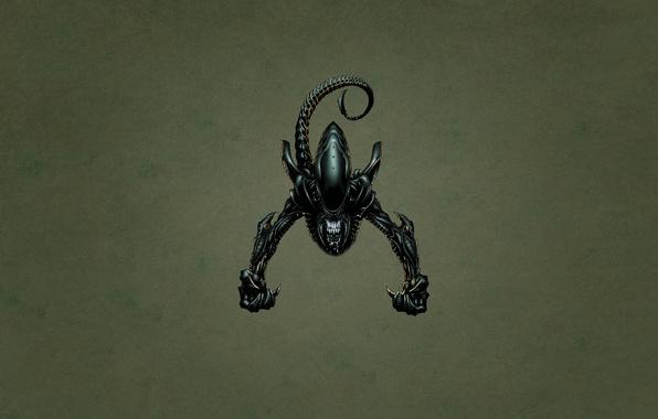 Picture minimalism, stranger, tail, alien, toothy, dark background