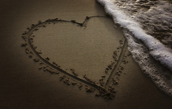 Photo wallpaper sand, beach, the ocean, heart, wave, the evening