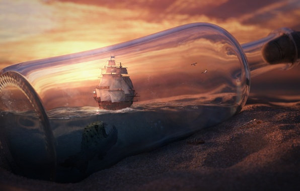 Picture sand, the sky, clouds, sunset, desert, ship, bottle, fish