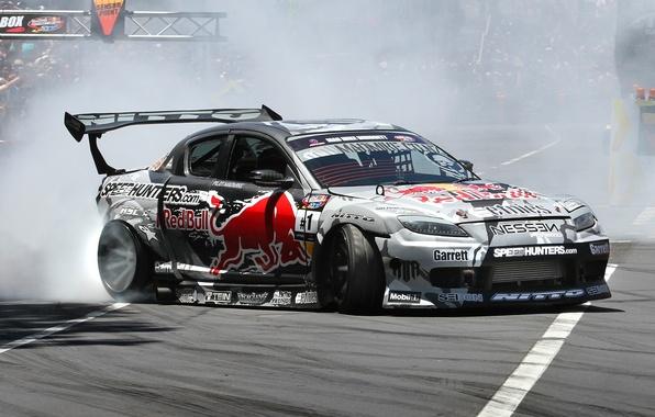 Picture Smoke, Mazda, Drift, Mazda, Drift, Car, Car, Wallpapers, Team, Wallpaper, RX8, Slide, Red bull, Side, …