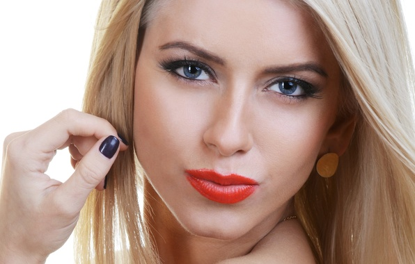 Picture look, girl, face, eyelashes, background, model, hair, hand, earrings, blonde, lips