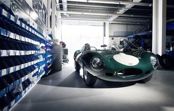 Wallpaper Green Jaguar Jaguar E Type Workshop Classic Cars