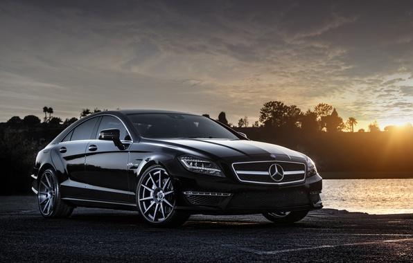 Picture the sun, sunset, black, Mercedes-Benz, black, Blik, AMG, front, Mercedes Benz, CLS-class, CLS 63, W218