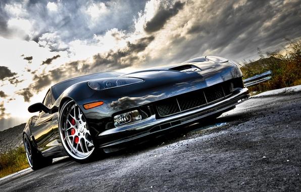 Picture road, corvette, chrome, chevrolet, road