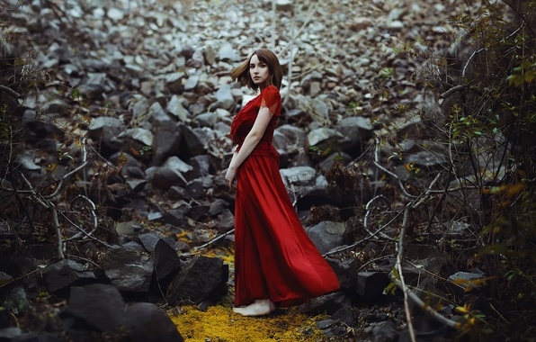 Picture forest, girl, stones, dress, in red, Ronny Garcia, No way out