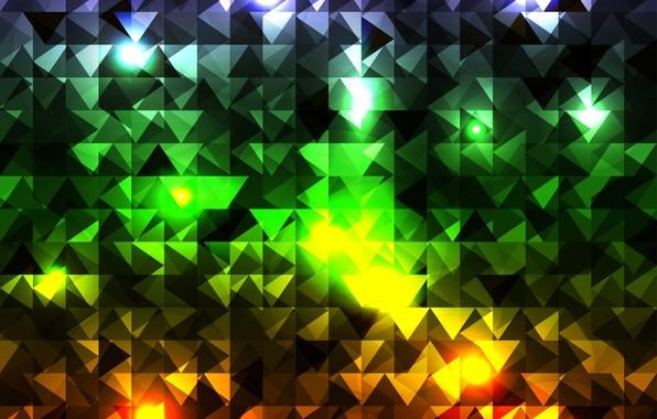 Picture abstraction, cubes, triangles, colorful