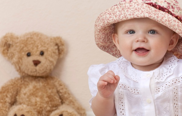 Picture children, smile, child, hat, girl, blue eyes, happy, hat, smile, blue eyes, child, Beautiful, teddy ...