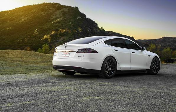 Picture white, wheels, Tesla, Model S
