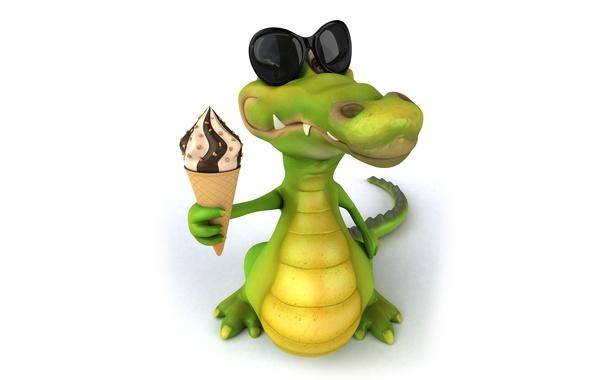 Picture character, funny, ice cream, crocodile
