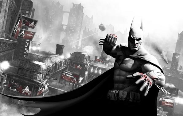 Picture the city, batman, blood, Batman, the airship, fist, Gotham, arkham city