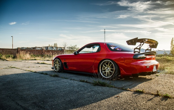 Picture the sky, clouds, shadow, red, side view, red, mazda, Mazda, rx-7