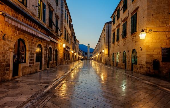 Picture sunrise, Croatia, Croatia, Dubrovnik, Dubrovnik, Stradun
