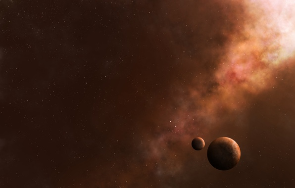 Picture space, stars, planet, satellite, art, tumannosti
