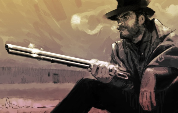 Picture figure, hat, art, cigar, pencil, painting, Winchester, western, Western, Clint Eastwood, Clint Eastwood, wild West, ...