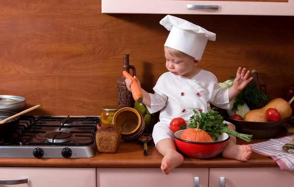 Picture bread, kitchen, plate, pumpkin, cook, vegetables, tomato, carrots, child, parsley, bread, carrot, pumpkin, cook, Child, …