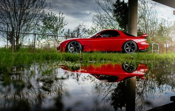 Picture car, reflection, red, rx7, Mazda, Mazda RX-7