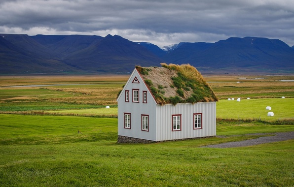 Picture roof, grass, mountains, nature, house, Iceland, sod-house