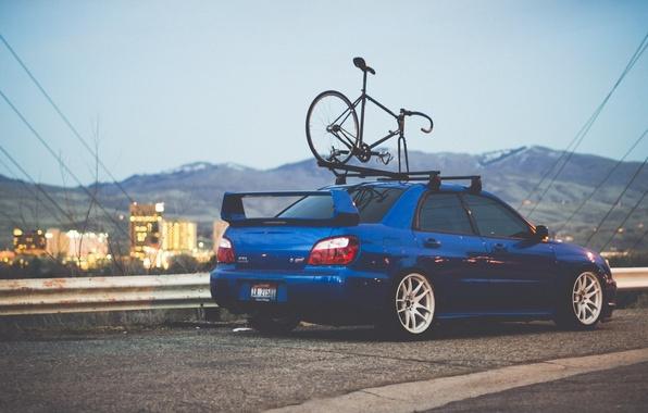 Picture road, machine, auto, mountains, bike, wall, home, subaru, blue, wrx, impreza, Subaru, sports, Impreza